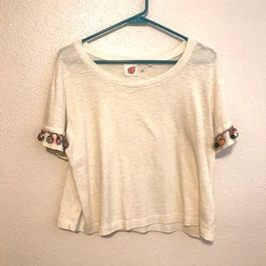 Anthropologie Lilka Shirt with Pom Sleeves